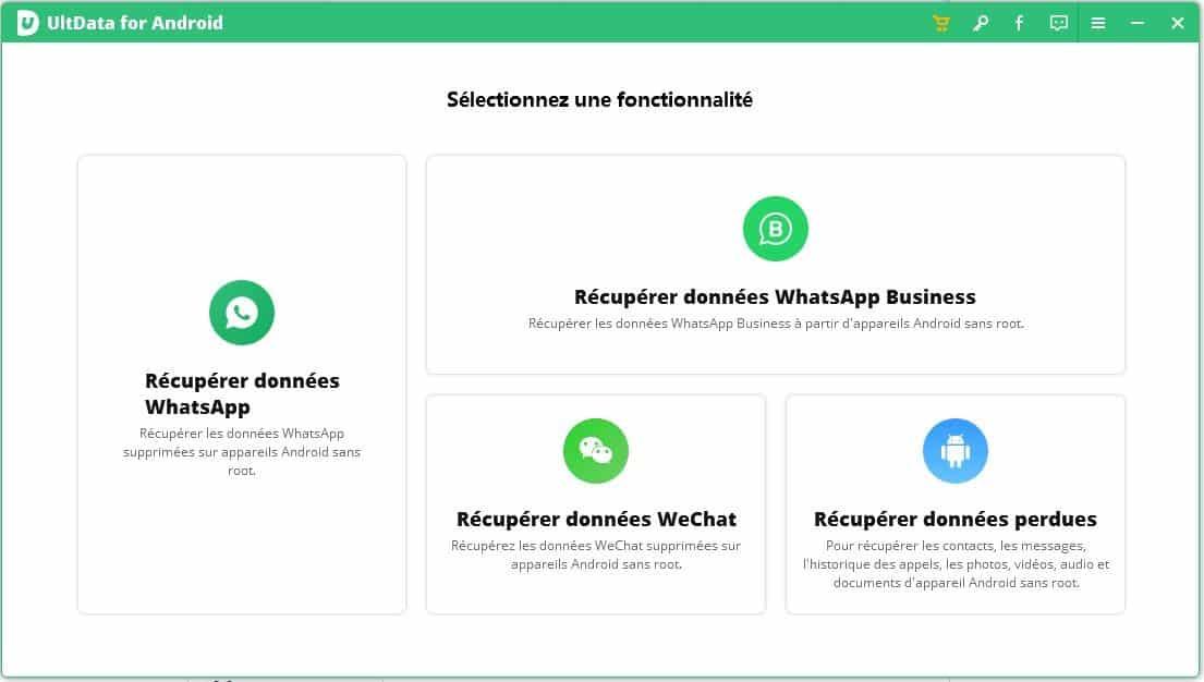 UltData for Android : Sélectionnez une fonctionnalité