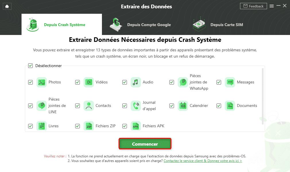 Droidkit : Sélection des données
