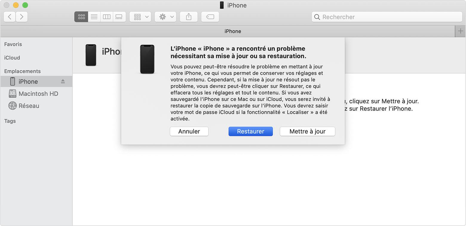 Déverrouiller l'iPhone sans le code en le réinitialisant avec iTunes ou le Finder