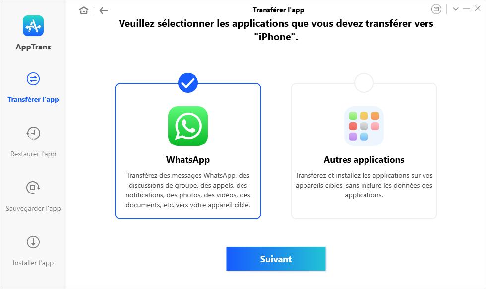 Sélection des applications à transférer vers l'iPhone