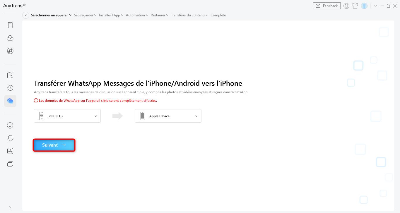 Transfert messages WhatsApp
