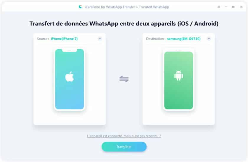 Transférer WhatsApp iPhone vers Android